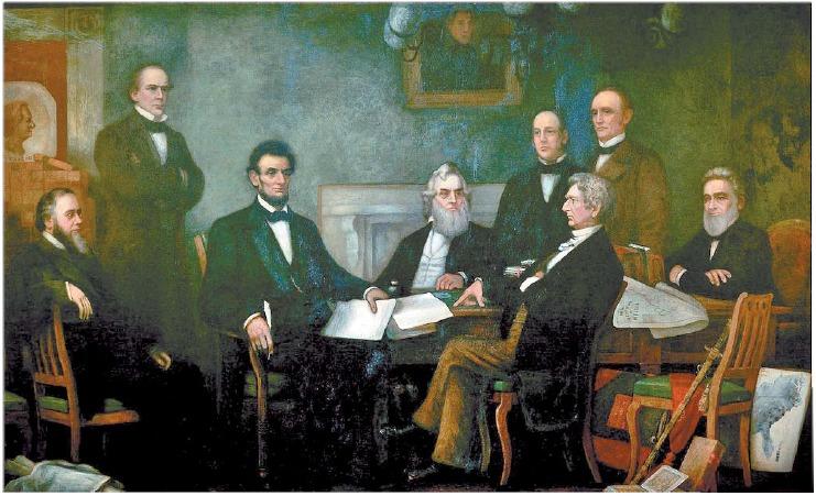 1862년 7월 링컨 대통령의 노예 해방선언문 초안을 읽고 있는 각료회의 장면을 묘사한 프랜시스 카펜터의 1864년 유화. 당내 경쟁자를 포용한 탕평 내각(Team of Rivals)으로 왼쪽부터 스탠턴 전쟁장관, 체이스 재무장관, 링컨 대통령, 웰레스 해군장관, 슈어드 국무장관(옆으로 앉은 사람). [중앙포토]