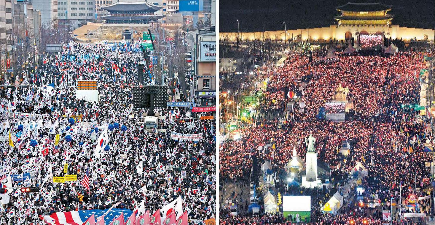 박근혜 대통령 취임 4주년이었던 25일 서울 중구 세종로 일대에서는 시민 수백만 명이 참가한 가운데 탄핵을 반대하는 '태극기집회'(왼쪽 사진)와 탄핵을 찬성하는 '촛불집회'가 잇따라 열렸다. 사진공동취재단