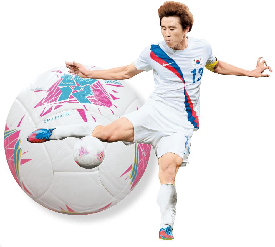 2012년 런던 올림픽 남자축구 일본과의 3·4위전에 사용된 공. 구자철이 후반 추가골을 터뜨리고 있다. [중앙포토]
