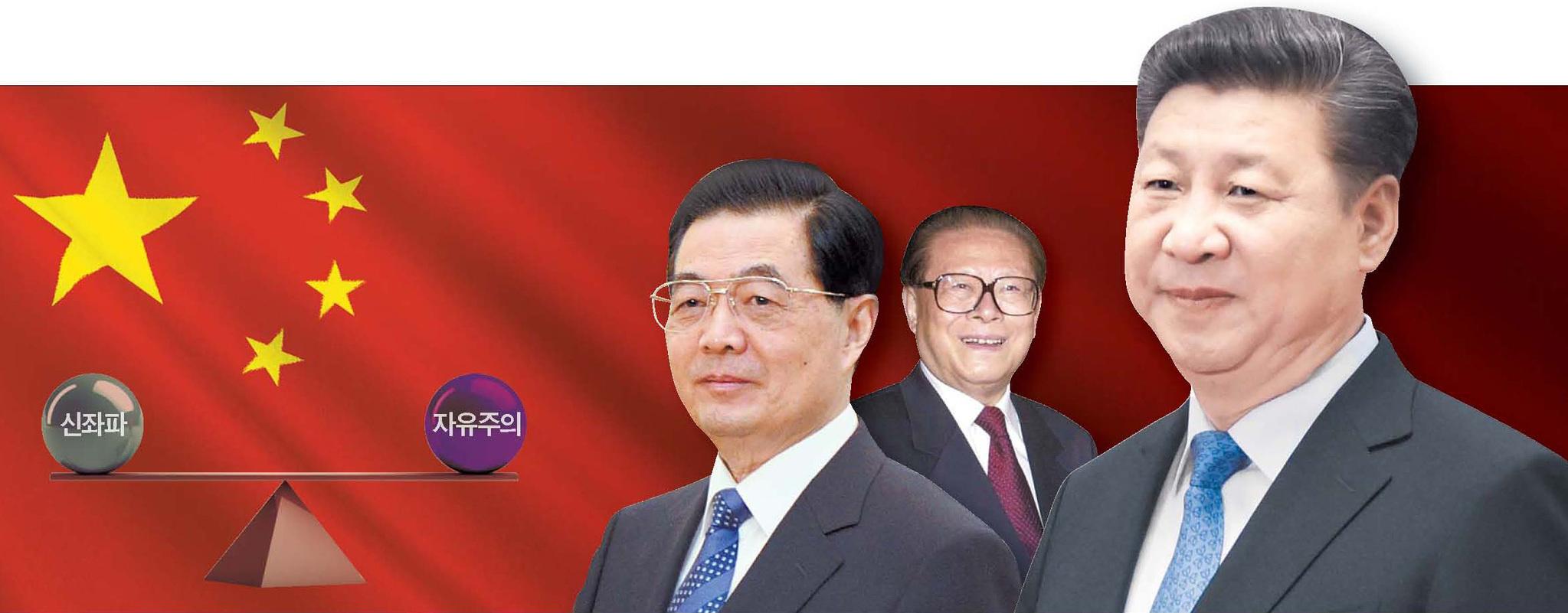 덩샤오핑의 개혁·개방 이후 중국 역대 정권의 정책 노선은 신좌파와 자유주의 주장 사이에서 균형을 잡는 형태로 전개돼 왔다. 왼쪽부터 후진타오·장쩌민 전 주석과 시진핑 주석. [중앙포토]