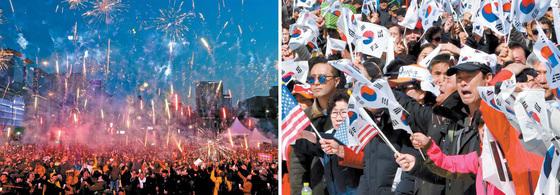 박근혜 전 대통령 파면 이후 첫 주말인 11일에도 서울 광화문광장과 서울광장에서 촛불집회와 태극기집회가 각각 열렸다. 촛불집회 참가자들은 폭죽을 쏘아올리며 파면을 축하했고, 태극기집회 참가자들은 탄핵 무효를 외쳤다. 오종택·조문규 기자