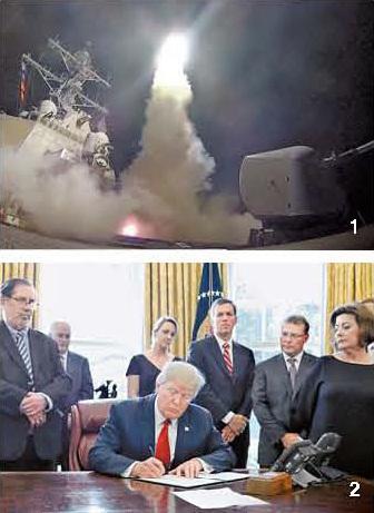 1 지난 6일 시리아를 향해 토마호크미사일을 발사하는 미 해군 구축함 '포터'. [AP=뉴시스] 2 지난 20일 백악관에서 철강 수입이 미국 안보를 침해할 경우 수입 제한 조치를 검토할 것을 지시하는 행정 명령에 서명하는 트럼프 대통령. [로이터=뉴스1]