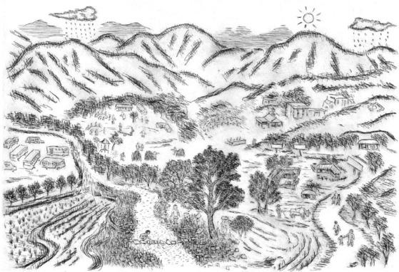 양평에 살고 있는 민정기 화백이 그린 황순원의 소설 「소나기」에 등장하는 소나기마을 상상도. 누구나 마음 속에 그리던 풍광 그대로다.