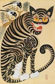 권성녀의 '까치호랑이',44 x 67cm