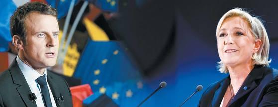 오는 5월 7일 프랑스 대선 결선투표 예선 중도 에마뉘엘 마크롱(왼쪽)과 극우 마린 르펜이 맞붙는다. 좌우파가 동반 몰락한 가운데 치러지는 이번 선거에선 마크롱의 승리가 예측되는 가운데 르펜의 약진도 눈부시다. [AP?신화 =뉴시스]