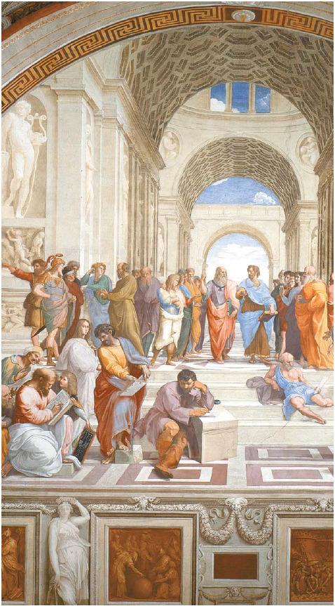 라파엘로의 '아테네 학당'(부분). 철학을 상징하는 이 그림의 왼쪽 아래에는 책을 읽고 있는 피타고라스의 그림이 있다. 피타고라스 앞에 하모니의 원리가 그려진 석판이 놓여 있다.
