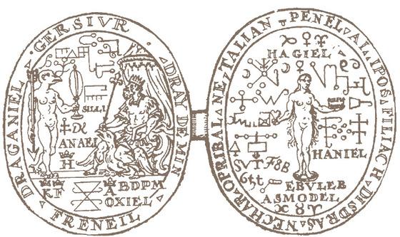노스트라다무스가 인간 피, 염소 피, 금속 등으로 만든 것으로 알려진 카트린느 드 메디치 왕비의 부적.