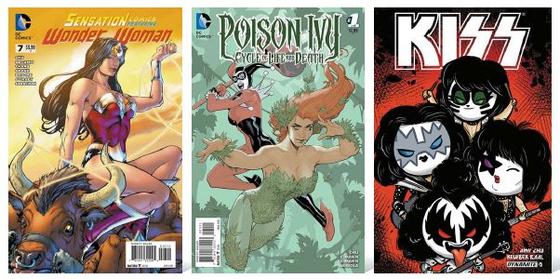 에이미 추가 스토리 작가로 참여한 슈퍼히어로물 만화책 '원더우먼'(맨 왼쪽) '포이즌 아이비'(가운데·이상 DC코믹스)와 록밴드 만화 '키스'(다이너마이트 엔터테인먼트)