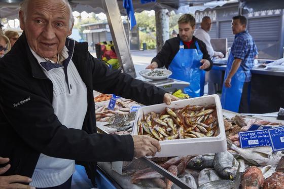 쿠킹클래스 식재료를 사기 위해 사나리쉬르메르 지역의 전통시장을 찾았다. 노 셰프가 생선을 신중히 고르는 모습. [사진 노중훈]
