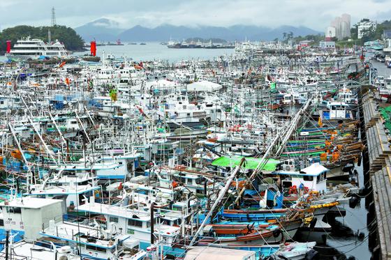 태풍 '콩레이'가 북상한 5일 전남 여수시 국동항이 피항 어선들로 가득하다. 기상청은 태풍이 6일 오후면 동해상으로 빠져나갈 것으로 예상했다. [연합뉴스]