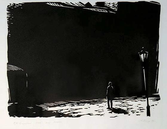 소비에트 시대를 풍미했던 그래픽 아티스트 안드레이 우신(1927~2005)은 도스토옙스키의 『백치』를 소재로 여러 편의 리놀륨 판화를 제작했다. 2011년 상트페테르부르크 도스토옙스키 기념관 특별전 '도스토옙스키의 이미지들'에 전시된 작품. 생사의 갈림길에 선 고독한 인간의 모습을 형상화했다.