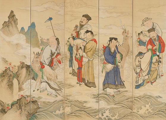 '해상군선도(海上群仙圖·19세기 말~20세기 초)10폭 병풍'(부분)', 비단에 채색, 아모레퍼시픽미술관 소장