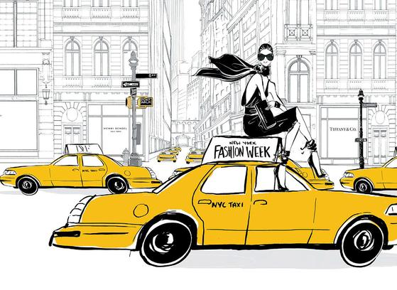 """메간 헤스가 '뉴욕'을 테마로 그린 일러스트레이션 작품. 그는 '뉴욕에 가서 택시를 타고 미드 타운에 들어가면 늘 설렌다""""고 말했다."""