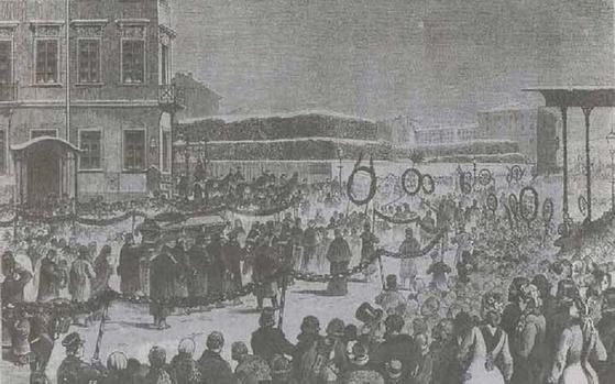 포르피리예프가 그린 도스토옙스키 장례식 그림