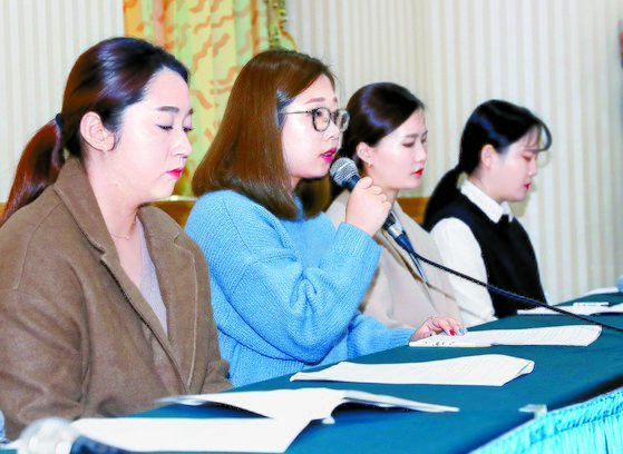 지난해 11월 15일 기자회견을 한 팀킴 멤버들. 왼쪽부터 김영미·선영·은정·초희 선수. [중앙포토]