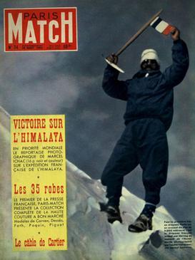 프랑스 원정대 귀국 직후 파리스 매치가 1면에 실은 모리스 에르조그의 안나푸르나 등정 확인 사진. 루이 라슈날이 찍어줬다. [중앙포토]