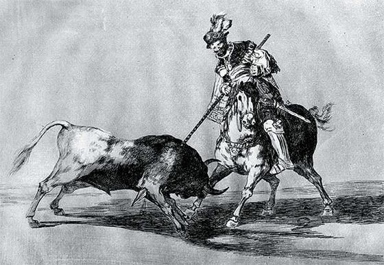 황소를 창으로 찌르는 엘 시드. 말을 타고 있다. 1815년경 고야의 판화 연작 '투우(La Tauromaquia)'. [사진 글항아리]