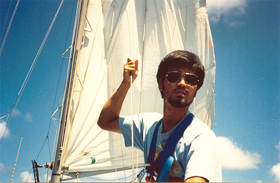 1994년 요트 세계 일주를 준비할 당시 강동석의 모습. [사진 강동석]