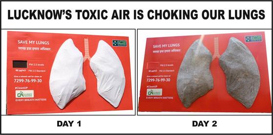인도 북부도시 러크나우에서 진행한 인공폐 실험 결과. 24시간 만에 폐가 시커멓게 변했다. [WHO 제공]