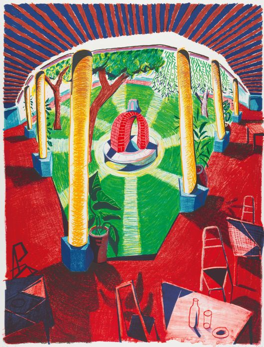 '호텔 우물의 경관 III'(1984~85), 석판화 에디션, 123.2 x 97.8 cm. Lithograph, Edition of 80, 1 © David Hockney / Tyler Graphics Ltd., Photo Credit: Richard Schmidt [서울시립미술관]