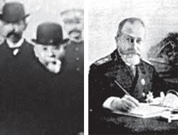 뤼순 203고지에서 이토(左), 하얼빈 집무실의 코코프체프(右)