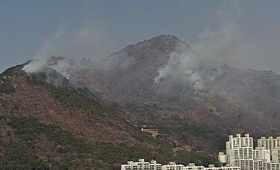 지난 2월 26일 낮 부산 승학산에서 방화로 추정되는 산불이 발생해 연기가 치솟고 있다. 이튿날에도 이 승학산에 산불이 일어났는데, 두 차례 산불 모두 건강 상태를 비관한 50대 남성이 불을 지른 것으로 밝혀졌다. [연합뉴스]