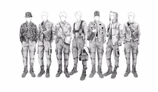 '디올' 남성복 디자이너 킴 존스가 BTS를 위해 제작한 공연 의상 스케치.