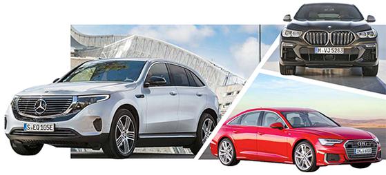 벤츠의 EQC, BMW의 X6, 아우디의 A6(왼쪽부터 시계방향).