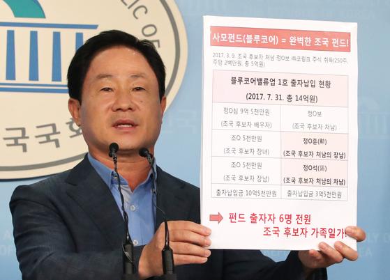 """23일 주광덕 자유한국당 의원은 국회 정론관에서 기자회견을 열고 '블루코어밸류업1호에 투자한 6명은 모두 조국 법무부 장관 후보자 일가"""" 라고 말했다. [연합뉴스]"""