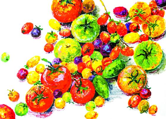 토마토 전성기가 끝나간다. 아래쪽 통통한 녹색 열매 두 개는 할라피뇨다. 양평에 사는 친구가 텃밭에서 키워 먹어보라고 줬다. 엄청 맵다기에 기대했는데 애걔, 고추는 그저 청양.