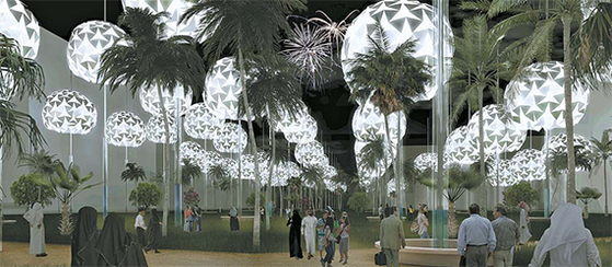제24회 세계에너지총회(WEC)의 국제도시 설계 공모전 '랜드 아트 제네레이터 이니셔티브(LAGI)에서 최고상을 수상한 '별이 빛나는 층운'. 낮에 평평하게 펼쳐져 햇볕을 막는 차양 역할을 하는 태양광 패널이 밤에는 동그랗게 접혀 아름다운 가로등이 된다. [사진 박성기]