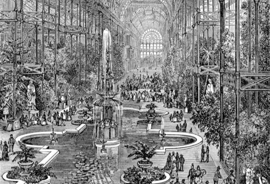 1851년 영국 런던에서 열린 만국박람회 전시장으로 세워진'수정궁'은 철골과 유리로 만들었다. [사진 게티이미지]