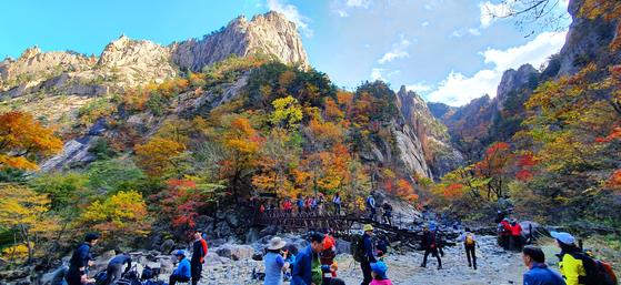 지난달 20일 설악산국립공원 천불동 계곡을 찾은 탐방객들이 단풍 산행을 즐기고 있다. [연합뉴스]