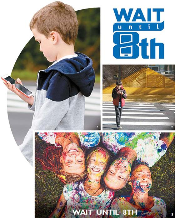 ① 길거리에서 스마트폰을 보며 걷고 있는 외국 어린이. ② 한국 초등학교 인근에서 한 학생이 스마트폰을 보며 건널목을 걷는 모습. ③ '중2까지 기다리자' 캠페인 사이트(www.waituntil8th.org). [게티이미지, 장예원]
