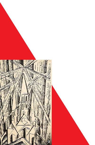 '건축의 우산 아래 모든 예술은 통합되어야 한다'는 그로피우스의 신념을 형상화한 파이닝거의 판화. 그래픽=이은영 lee.eunyoung4@joins.com