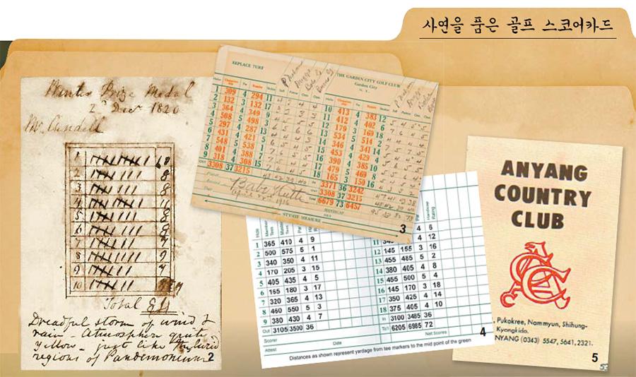 2 현존하는 가장 오래된 스코어카드. 1820년 12월 2일 라운드 기록이다. 3 야구 스타 베이브 루스의 1936년 4월 22일 골프 스코어카드. 유명인이 사인한 스코어카드는 비싼 값에 팔린다. 4 마스터스가 열리는 오거스타 내셔널 골프클럽의 스코어카드. 5 한국의 명문 클럽인 안양 골프장의 초창기 스코어카드. [중앙포토]