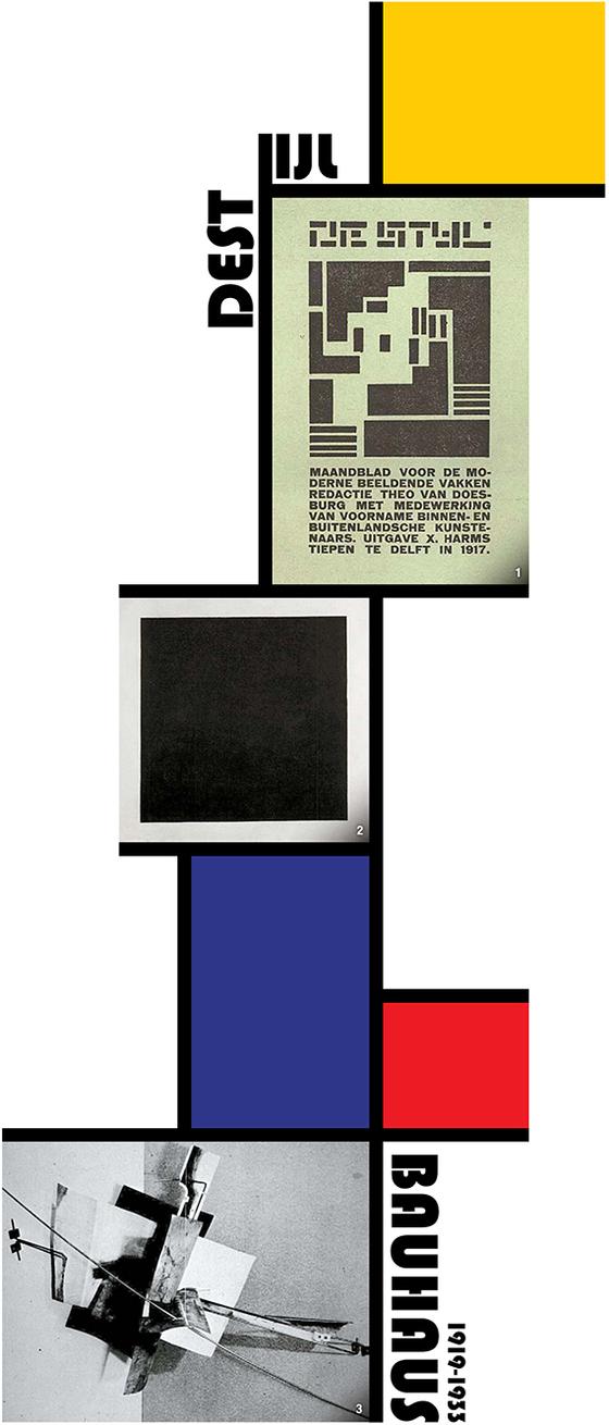 1'데 스틸' 잡지의 창간호 표지. 말레비치가 주장한 최종 편집단위 '사각형'의 가능성을 제일먼저 발견하고 실천에 옮긴이들이 바로 '데 스틸' 그룹이다. 2 말레비치의 '검은 사각형'(1915). 회화를 해체는 그다음 단계의 창조적 통합, 즉 편집의 가능성을 열어야 한다. 말레비치의 '사각형'은 더 이상 쪼갤 수 없는 마지막 단위, 즉 '영점'이었다. 3 타틀린의 '재료의 선택: 철, 스투코, 유리, 아스팔트'(1914). 러시아 구축주의의 시작을 알린 작품이다. 그래픽=이은영 lee.eunyoung4@joins.com
