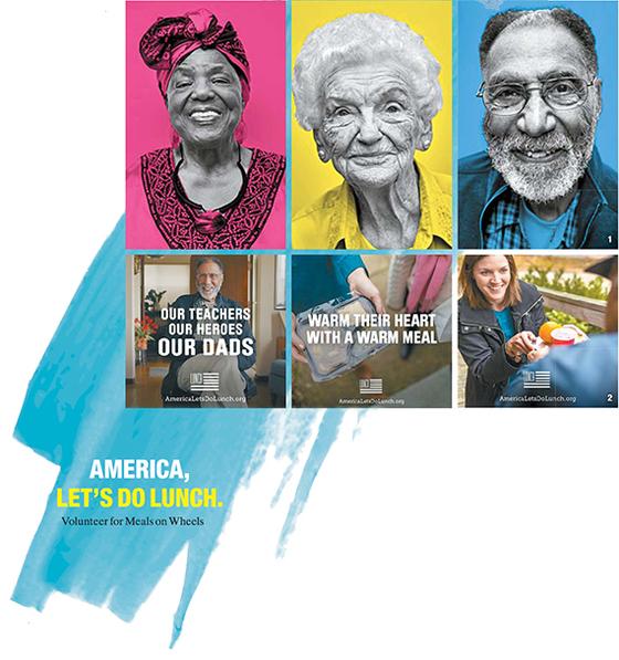 사진 위쪽. 사진작가 마크 세리거가 재능기부 차원에서 촬영하고 있는 노인들의 모습. 사진 아래쪽. 밀즈온휠즈 '점심 먹자' 캠페인 포스터. [사진 마크 세리거]
