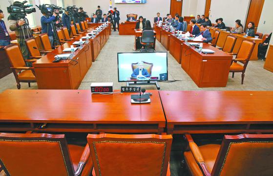 10일 국회 법사위 전체회의에서 야당 의원들이 추미애 법무부 장관이 불참한 가운데 회의를 진행하고 있다. [연합뉴스]