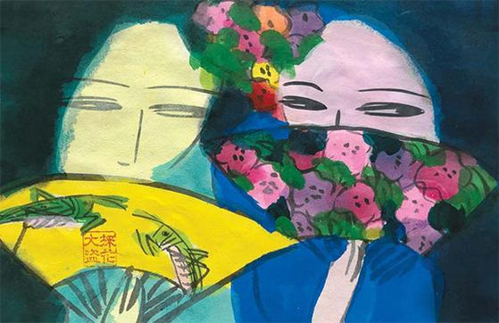 왈라세 팅의 '투 걸즈 가십핑'(1990s). [사진 Taipei Dangdai]
