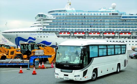 14일 일본 요코하마항에서 크루즈선 승객을 태운 버스가 출발하고 있다. [EPA=연합뉴스]