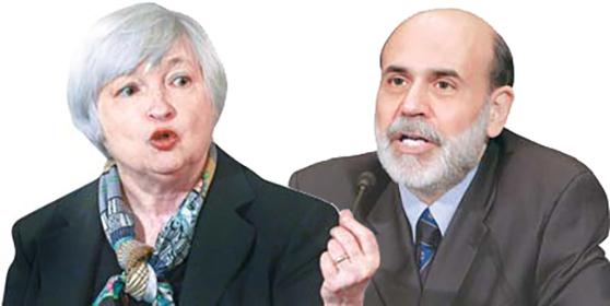 재닛 옐런(左), 벤 버냉키(右)