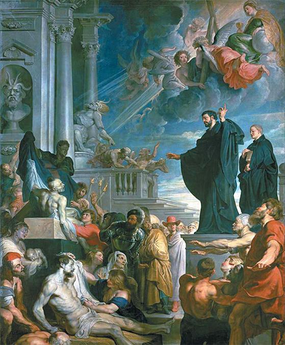 페테르 파울루벤스, '성 프란치스코 하비에르의 기적'.(1617 또는 1618, 비엔나 미술사 박물관)