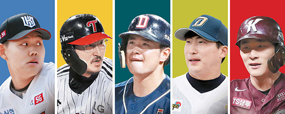 KT 소형준, LG 박용택, 두산 김재환, NC 나성범,키움 김하성(왼쪽부터)