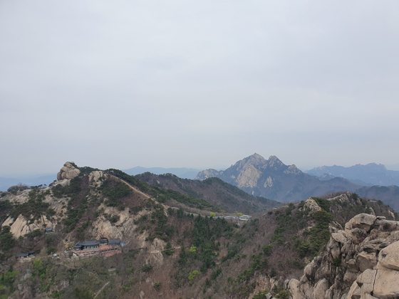 북한산 보현봉에서 바라본 북한산성. 안부(능선의 움푹 들어간 부분)에 대남문 보수공사가 한창이다. [사진 신향희]