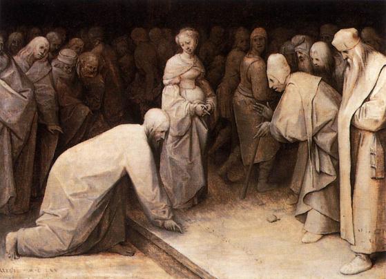 대(大) 피터르 브뤼헐이 그린 '그리스도와 간음 한 여자'. [사진 코톨드]