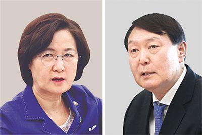 추미애 장관(左), 윤석열 총장(右)