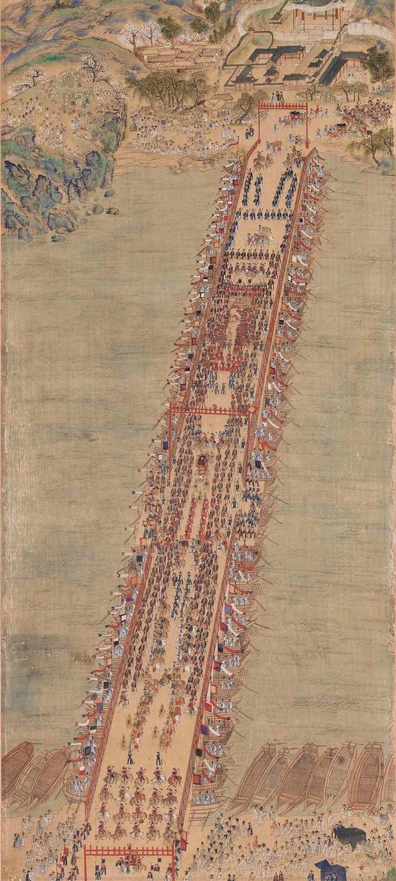 정조의 1795년 능행차를 그린 '화성능행도병' 중 일부로, 노량진을 통해 한강을 건너는 장면을 그렸다. 정조는 노량의 행궁에서 어머니 혜경궁 홍씨와 함께 머물렀다. [사진 국립중앙박물관]