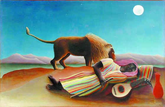 앙리 루소, '잠자는 집시'(1897). 40대가 넘어 그림을 그리기 시작한 루소는 자신이 만족할 때까지 그림을 그렸다. 그림은 왜 여인이 사막에서 잠들었는지 질문을 한다. [뉴욕 MoMA]