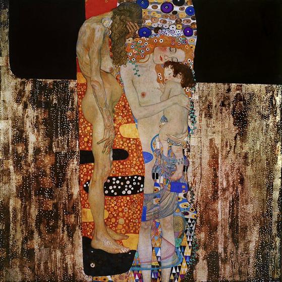 태어나고 자라고 늙어 가는 삶의 행로를 담은 구스타브 클림트의 '한 여성의 세 나이'(1905). 캔버스에 유채, 180x180㎝. [로마 국립갤러리]